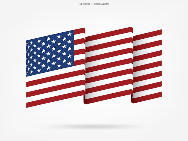 Abstracte amerikaanse vlag op witte achtergrond.