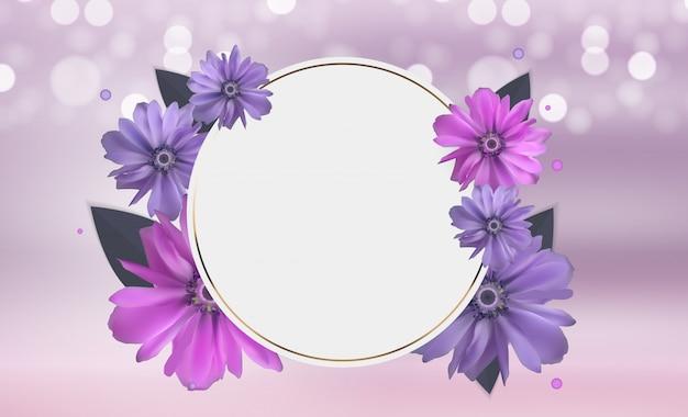 Abstracte anemoon bloem realistische vector frame achtergrond