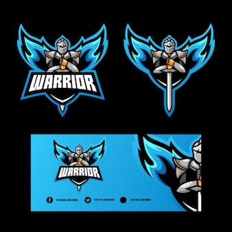 Abstracte angel warrior illustratie vector ontwerpsjabloon