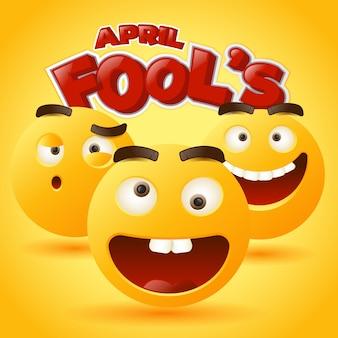 Abstracte april dwazen emoticon sticker