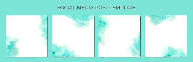 Abstracte aquarel als achtergrond van social media postsjabloon