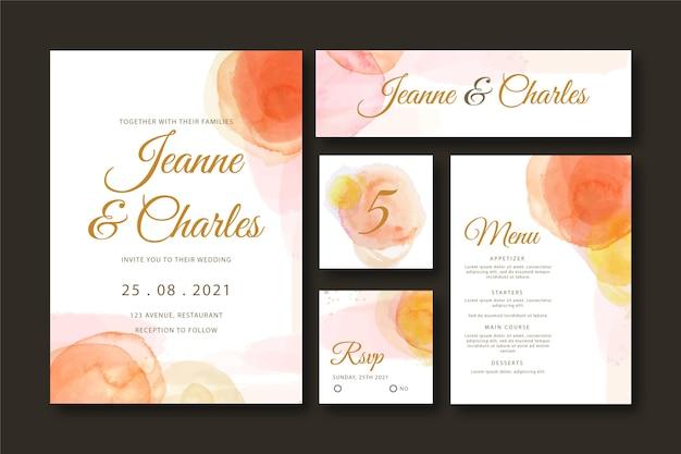 Abstracte aquarel bruiloft briefpapier collectie