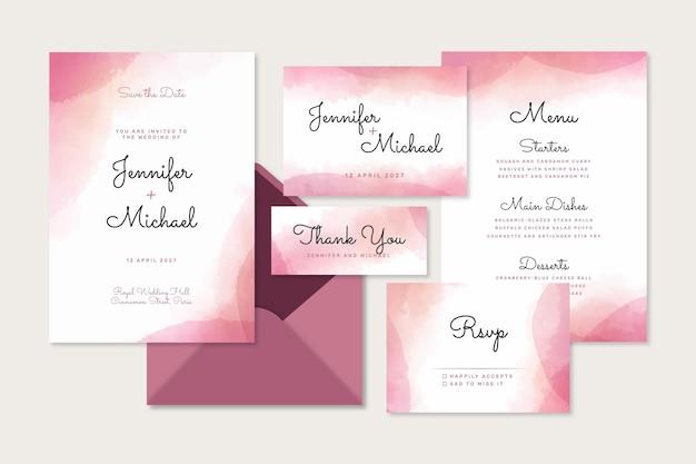 Abstracte aquarel bruiloft briefpapier