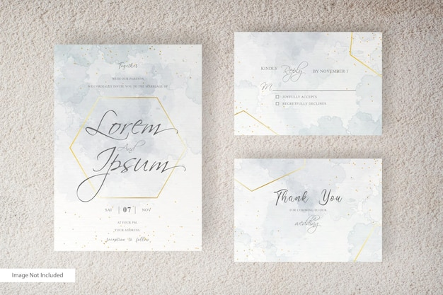 Abstracte aquarel bruiloft uitnodiging kaartsjabloon