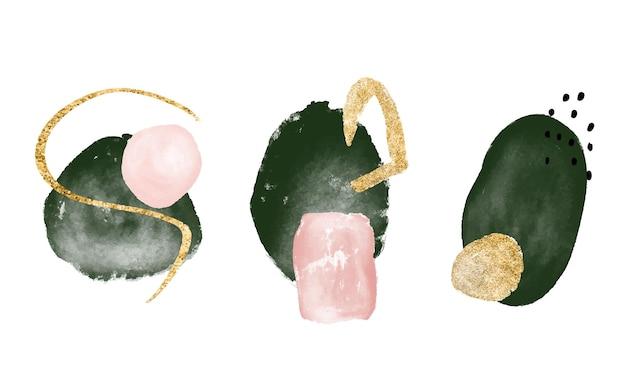 Abstracte aquarel kunstcollectie moderne compositie met groene en roze vormen en gouden textuur