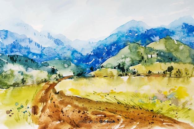 Abstracte aquarel landschap-achtergrond