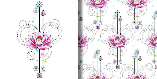 Abstracte aquarel lotus print en naadloze patroon set