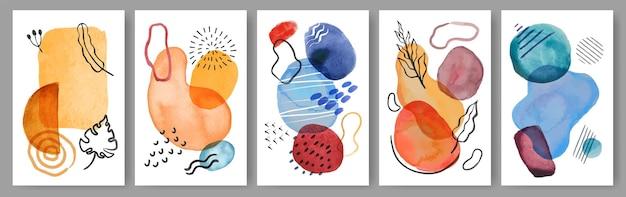 Abstracte aquarel poster modern schilderij met organische vormen en penseelstreken set