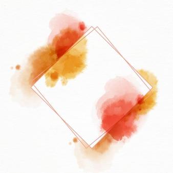 Abstracte aquarel vierkant frame met vlekken