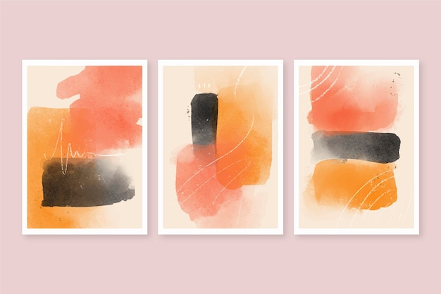 Abstracte aquarel vormen covers pack