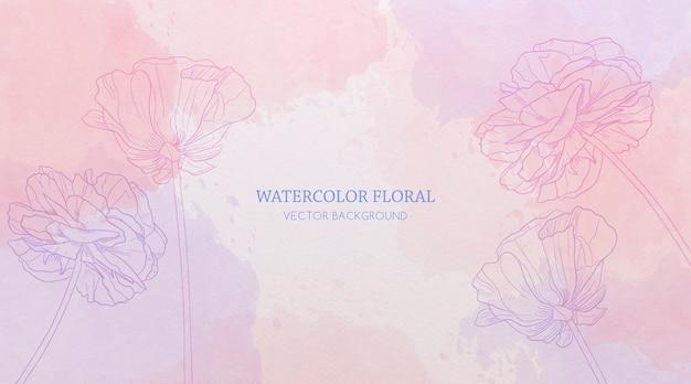 Abstracte aquarelachtergrond met handgetekende bloemen