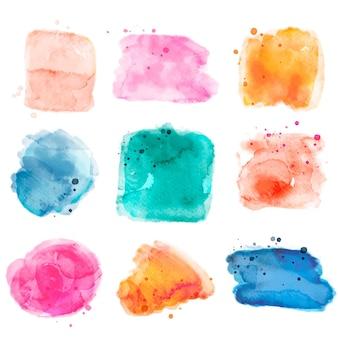 Abstracte aquarelvlekken en -streken