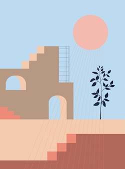 Abstracte architecturale geometrische vormen trap boog botanische elementen stijl van minimalistisch
