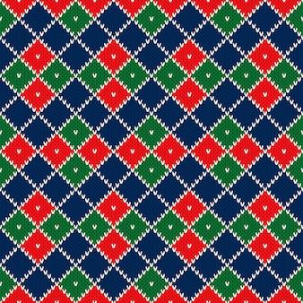 Abstracte argyle gebreide trui patroon vector naadloze achtergrond wol gebreide textuur imitatie