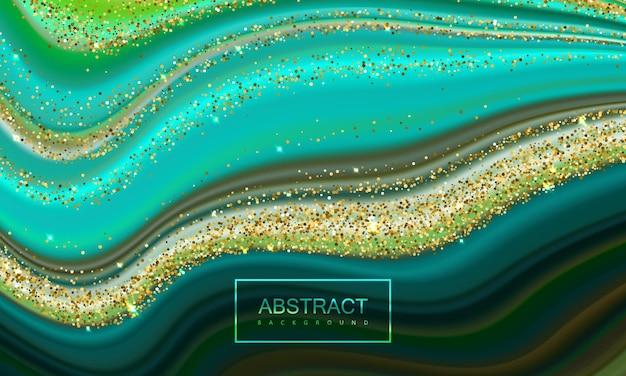 Abstracte backgroung van vloeibare gieten kleuren met glanzende gouden glitters