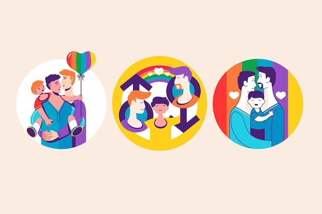 Abstracte badges met homoparen en gezinnen