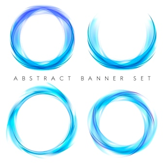 Abstracte banner die in blauw wordt geplaatst