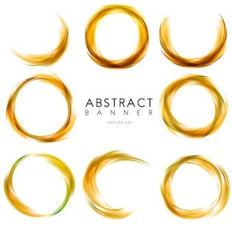 Abstracte banner die in geel wordt geplaatst