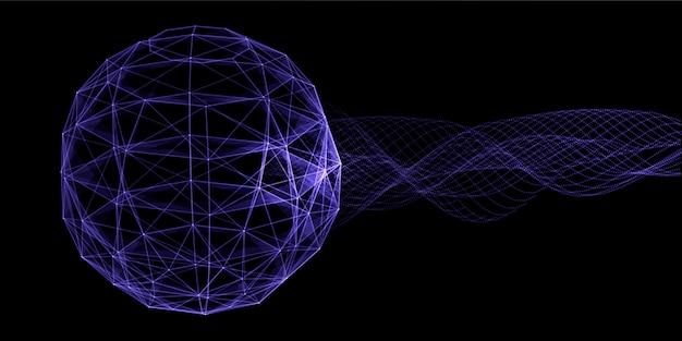 Abstracte banner met een ontwerp van de plexusbol en vloeiende deeltjes