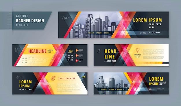 Abstracte banner ontwerpsjabloon web instellen, horizontale header webbanner