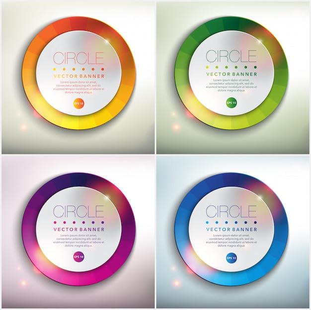 Abstracte banner set van 4. papier ronde cirkels met kleurrijke. geïsoleerd op het witte paneel.