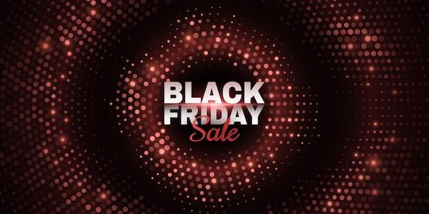 Abstracte banner voor black friday-verkoop. glinsterende gestippelde achtergrond. mode reclame promotie sjabloon. commercieel kortingsevenement. vector zakelijke illustratie. eps-10.