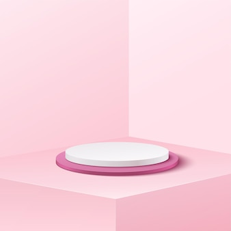 Abstracte bannerachtergrond voor product adverteren. lege cilinder podium studio witte en zachte roze achtergrond.