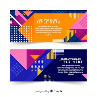 Abstracte banners met geometrische vormen