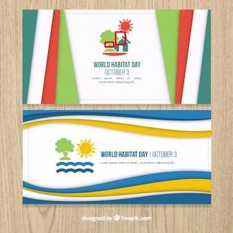 Abstracte banners van de wereld leefgebied dag