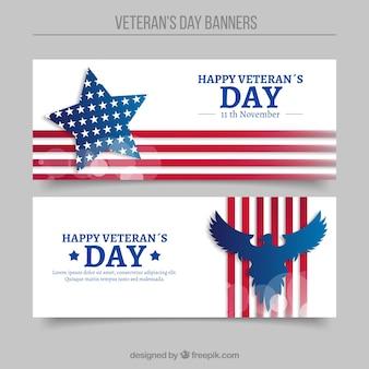 Abstracte banners van veteranen dag