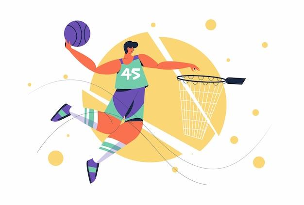 Abstracte basketbalspeler man met bal die een slam dunk uitvoert tijdens competitie in stripfiguur