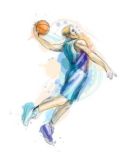 Abstracte basketbalspeler met bal uit een scheutje aquarel, hand getrokken schets. illustratie van verven