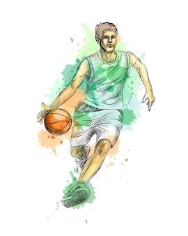 Abstracte basketbalspeler met bal uit een scheutje aquarel, hand getrokken schets. illustratie van verven Premium Vector