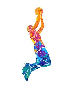 Abstracte basketbalspeler met bal van splash van aquarellen. illustratie van verven.