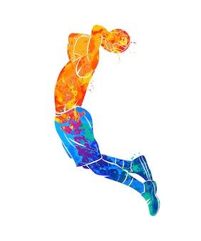 Abstracte basketbalspeler met bal van splash van aquarellen