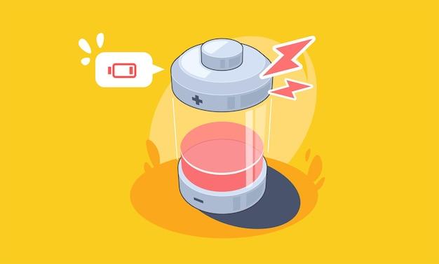 Abstracte batterij opladen pictogram lage batterij platte illustratie