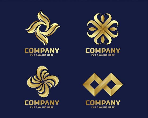 Abstracte bedrijfs gouden embleeminzameling