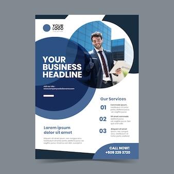 Abstracte bedrijfsaffiche met foto van de bedrijfsmens