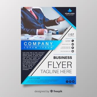 Abstracte bedrijfsvlieger met fotosjabloon