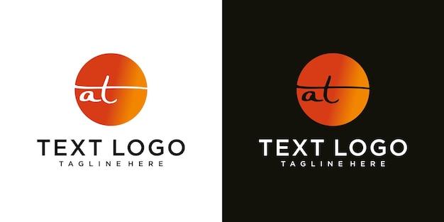 Abstracte beginletter a met t logo ontwerpsjabloon technologie iconen voor zaken van luxe