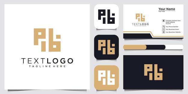 Abstracte beginletter pb bp logo ontwerpsjabloon en visitekaartje