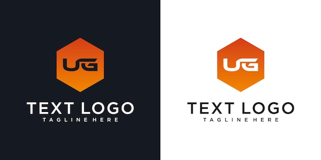 Abstracte beginletter ug ug minimale logo-ontwerptemplat