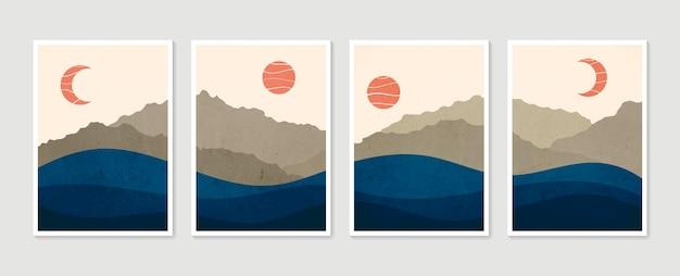 Abstracte berg hedendaagse esthetische landschappen. collectie moderne minimalistische kunstdruk.