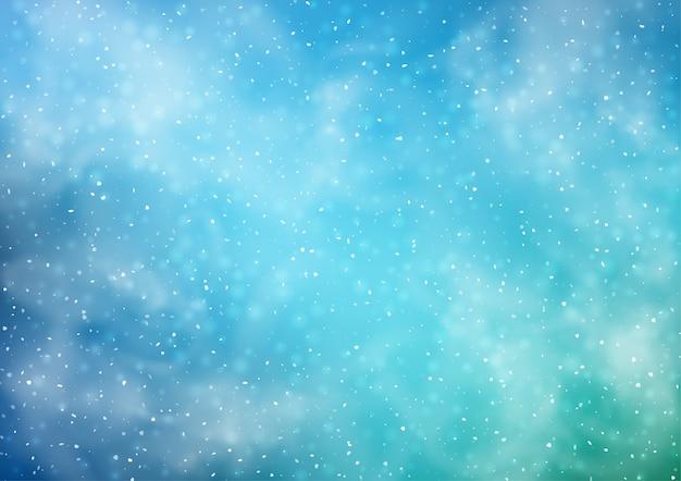 Abstracte besneeuwde winter achtergrond met sneeuwval