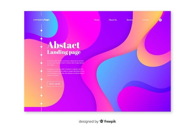 Abstracte bestemmingspagina met vloeibaar effect