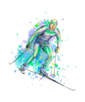 Abstracte biatleet uit een scheutje aquarel, hand getrokken schets. illustratie van verven