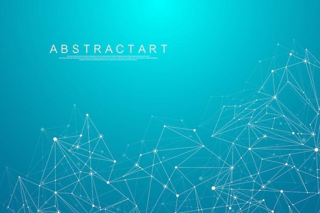 Abstracte big data visualisatie digitale netwerkverbinding concept achtergrond. kunstmatige intelligentie en technische technologie. wereldwijd netwerk, lines plexus, minimale array. illustratie.