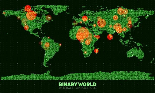 Abstracte binaire wereldkaart.