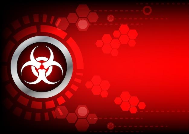 Abstracte bio-gevaren technologie op rode kleur achtergrond