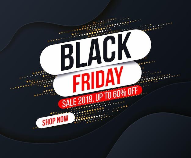 Abstracte black friday-banner met gouden halftone glittereffect voor speciale aanbiedingen, verkopen en kortingen.